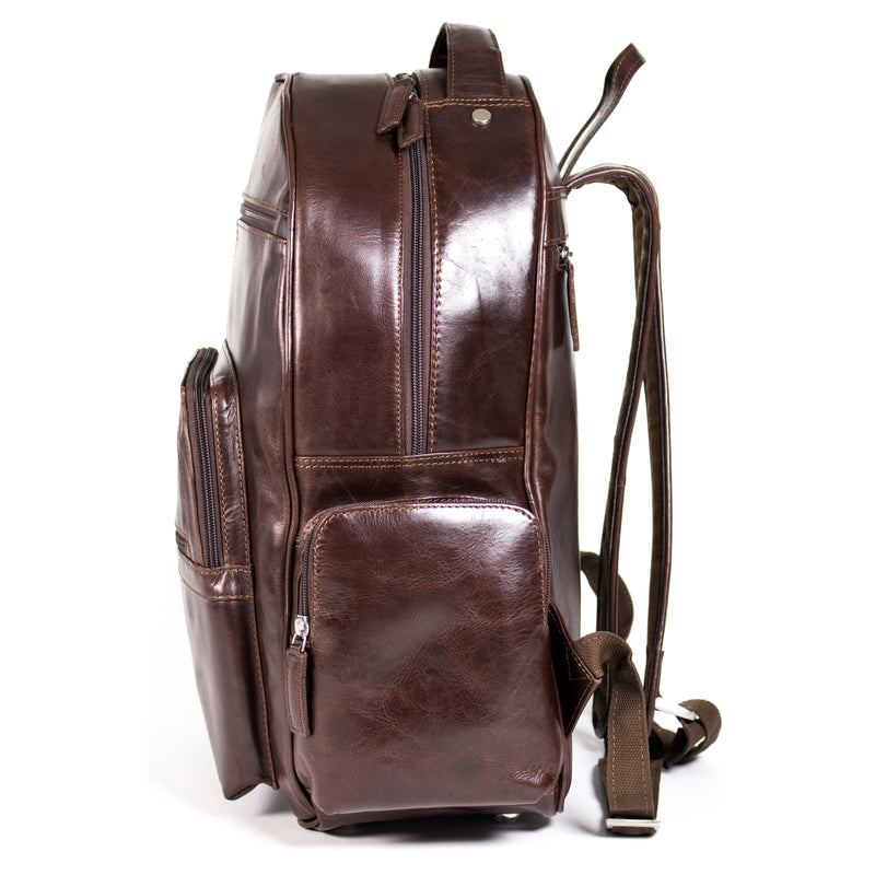 Clinton - leather laptop backpack
