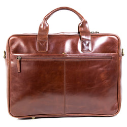 Nouveau Leather Ivan Mens 17 inch laptop bag in burnish