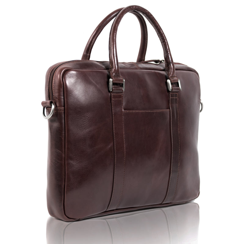 Joseph-02 15 inch Slimline Laptop Bag Vacheta Brown