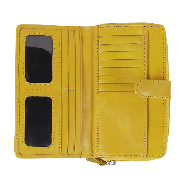 NL-01 - ladies leather purse yellow