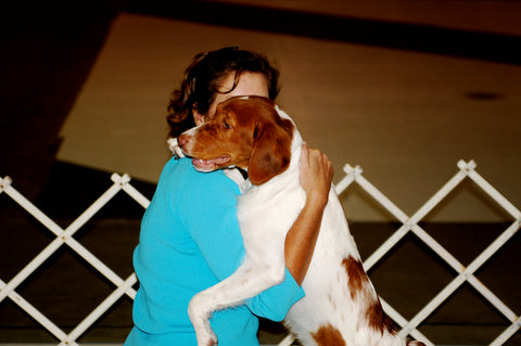 Dog show training love and hugs