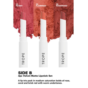 SIDE B 3pc Velvet Matte Lipstick Set