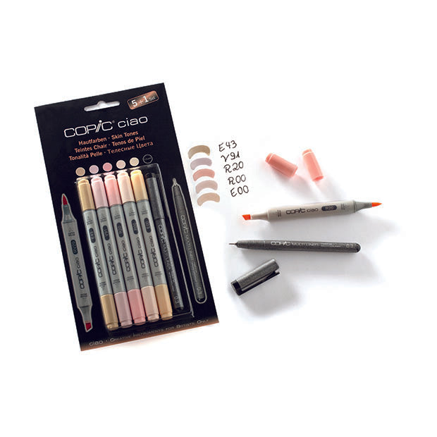 Copic Ciao Twin Tipped Graphic Marker 5+1 Sets-Skin Tones 1