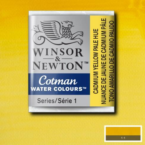 Winsor & Newton Cotman Watercolour Half Pan - Cadmium Yellow Pale - Spectrum Art Shop Birmingham