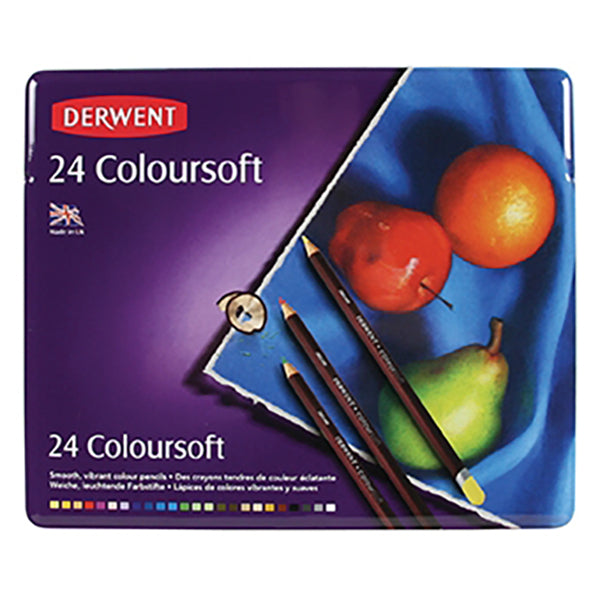 Derwent Coloursoft Pencils - Tin Of 24 - Spectrum Art Shop Birmingham