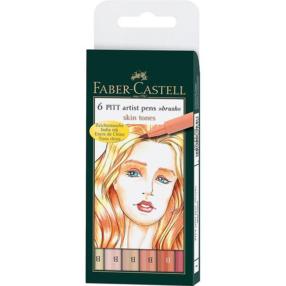 Faber-Castell PITT Artist Pen Brush Wallet of 6, Skin Tones - Spectrum Art Shop Birmingham