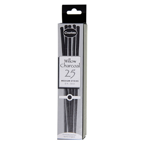Coates Willow Charcoal - Medium Sticks 4-6mm Box of 25 - Spectrum Art Shop Birmingham