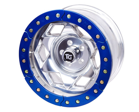 "17"" Aluminum Beadloclk Wheel, (5 on 5.50"" w 3.75"" BS), Blue Segmented Ring"