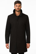 One Man Outerwear black waterproof wool car coat