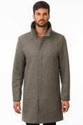 One Man Outerwear grey waterproof wool car coat