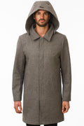 One Man Outerwear grey waterproof wool car coat with hood