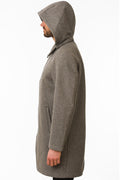 Side of One Man Outerwear grey waterproof wool car coat