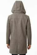 Back of One Man Outerwear grey waterproof wool car coat