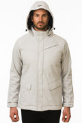 One Man Outerwear Light Grey Waterproof Commuter Cycling Jacket with hood