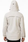 Back of One Man Outerwear Light Grey Waterproof Commuter Cycling Jacket