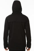 Back of One Man Outerwear Black Waterproof Commuter Cycling Hoodie