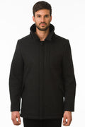 One Man Outerwear black waterproof wool coat
