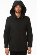 One Man Outerwear black waterproof wool coat with hood