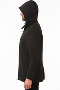 Side of One Man Outerwear black waterproof wool coat