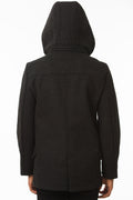 Back of One Man Outerwear black waterproof wool coat