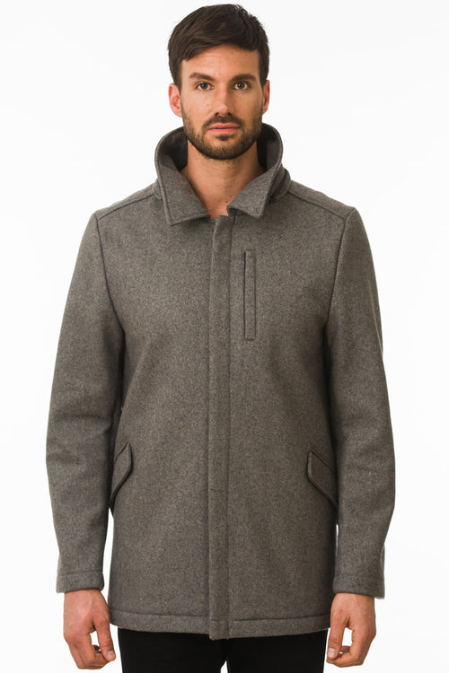 One Man Outerwear grey waterproof wool coat