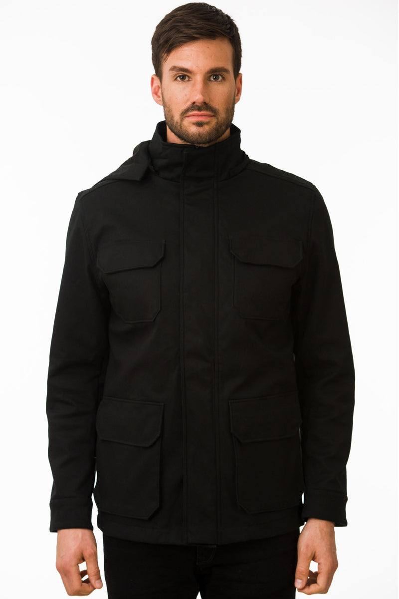 One Man Outerwear black waterproof field jacket
