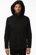 One Man Outerwear black waterproof field jacket with hood