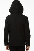 Back of One Man Outerwear black waterproof field jacket