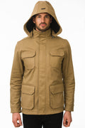 One Man Outerwear camel tan waterproof field jacket with hood