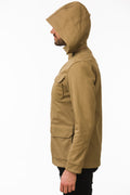 Side of One Man Outerwear camel tan waterproof field jacket