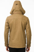 Back of One Man Outerwear camel tan waterproof field jacket