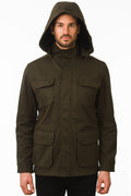 One Man Outerwear dark olive green waterproof field jacket with hood