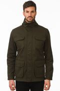 One Man Outerwear dark olive green waterproof field jacket