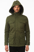 One Man Outerwear olive green waterproof field jacket with hood