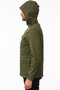 Side of One Man Outerwear olive green waterproof field jacket