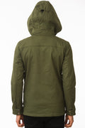 Back of One Man Outerwear olive green waterproof field jacket