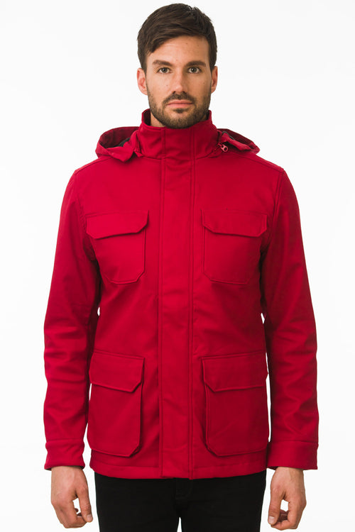 One Man Outerwear red waterproof field jacket