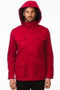 One Man Outerwear red waterproof field jacket with hood