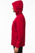Side of One Man Outerwear red waterproof field jacket