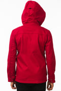 Back of One Man Outerwear red waterproof field jacket