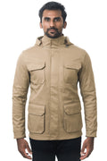 One Man Outerwear camel tan waterproof field jacket