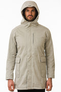 One Man Outerwear modern tan waterproof jacket with hood