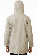 Back of One Man Outerwear modern tan waterproof jacket