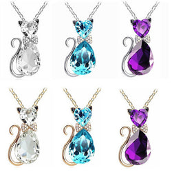 Crystal Cat Pendant Necklace - FREE Shipping! - 123dealss