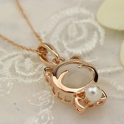 Pearl Cat Pendant - Just Pay Shipping! - 123dealss
