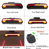 BE SAFE BE SEEN SMART WIRELESS BICYCLE REAR LED LASER LIGHT