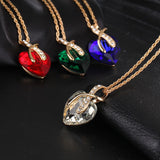 Gold Long Austrian Crystal Heart Necklace