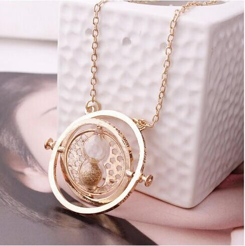 Time Turner Rotating Spin Hourglass Necklace