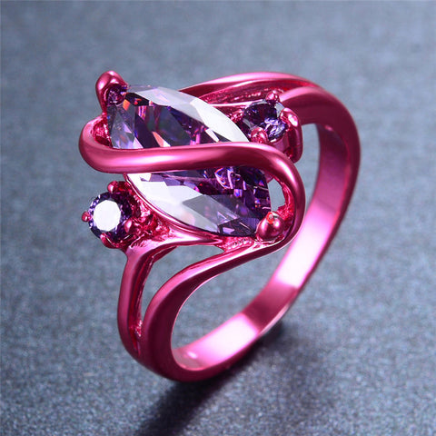 Vintage Pink Gold Zircon Crystal Ring
