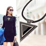 Vintage Big Triangle Leather Chain Necklace